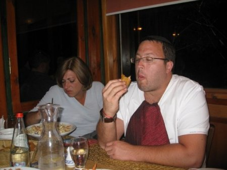 chazzer belly and his wife - look at her, shes so sick of you she lost her appitite!