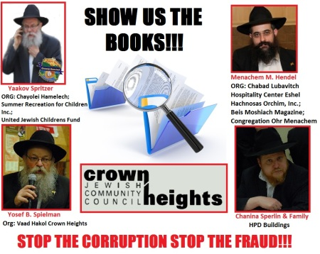 chanina sperlin-yaakov spritzer-mendel hendel-J.B. Speilman-Crown heights jewish community council-corruption-fraud