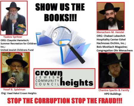 chanina sperlin-yaakov spritzer-mendel hendel-J.B. Speilman-Crown heights jewish community council-corruption-fraud