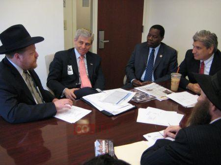 2010 - Chanina Sperlin, Zaki Tamir and Eli Cohen, of the Crown Heights Jewish Community Council Inc. meets  Met Council Executive Director William Rapfogel