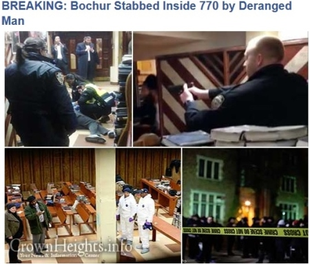 BREAKING- Crownheights.info -Bochur Stabbed Inside 770 by Deranged Man