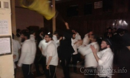 Celebrating the release of Nechemia Kirshenzaft, while disrupting an ongoing Shiur.